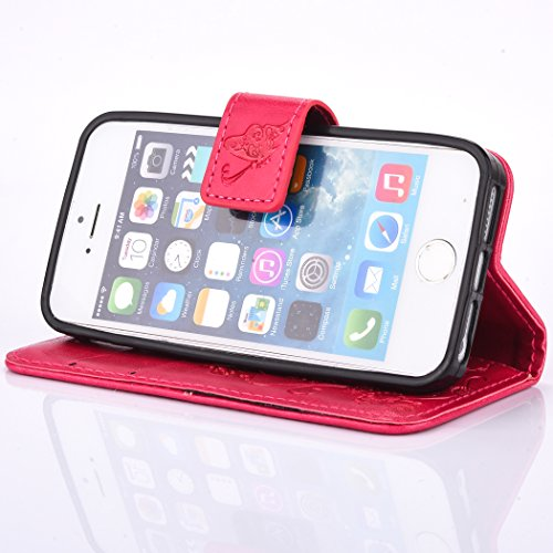 iPhone SE 5 5S Coque,Cozy Hut Coque iPhone SE 5 5S Case Housse Étui en PU Cuir Bumper Flip Cover Bookstyle Support Cartes Slots Ultra Mince Léger Fermeture Aimantée Étui iPhone SE 5 5S Coque Motif Gra rouge