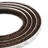 UOOOM 5 m a Prueba de Viento de Polvo Puerta Ventana Strip Pegatina de Sellado Cepillo Strip 9 x 5 mm (Marrón)