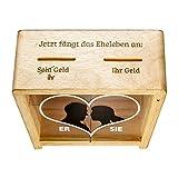 Lustige Spardose zur Hochzeit - Spruch-Spardose für Eheleute als Geldgeschenk - mit Herz Aufdruck - Hochzeitsgeschenk