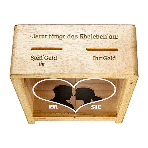 Hochzeit - Spruch-Spardose für Eheleute als Geldgeschenk – mit Herz Aufdruck - Hochzeitsgeschenk (Lustige Hochzeit)