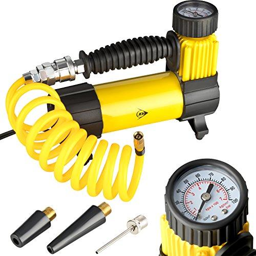 Dunlop Luft Kompressor aus Metall | 12 V / 7 Bar /100 PSI mit versch. Aufsätzen | zum Aufpumpen von Reifen, Fußbällen, Wasserspielzeug, Luftmatratzen | 2,85m Anschlussleitung für Zigarettenanzünder - Auto-luft-kompressor