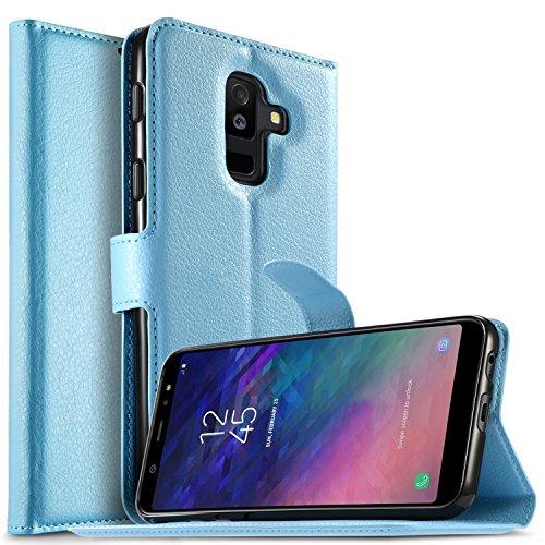 KuGi Samsung Galaxy A6 Plus 2018 Custodia, Flip Cover Portafoglio Pelle Protective Wallet Custodia Morbido Caso Guscio con Stand per Samsung Galaxy A6 Plus 2018(Blu)