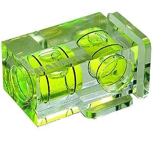 Kaiser Duplex-Wasserwaage, mit Doppel-Libelle und zwei Aufsteckfüßen für Quer- und Hochformataufnahmen. Maße ca. 18 x 18 x 33 mm