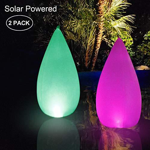 Luz Solar de Jardín,Forma Cónica LED Exterior Solar Luz LED para piscina IP68 Impermeable Lampara Solar 4 Colores Cambiantes Luces Solares Led Exterior,Para Decoración de Patio,Césped,Piscina(2PACK)