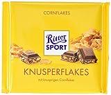 RITTER SPORT 250g Knusperflakes (10 x 250 g), cremige Sahneschokolade mit Cornflakes, zartschmelzende Knusper-Schokolade, 250g Großtafel