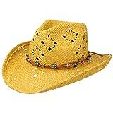 Stetson Western Raffia Strohhut Raffiahut Sommerhut Sonnenhut Strandhut Cowboyhut Damen | mit Lederband Frühling-Sommer | S (54-55 cm) gelb