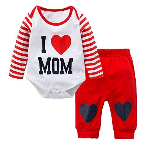 Baywell Neugeborene Baby Jungen Mädchen Kleider Set, Entzückende Spielanzug Set 2Pcs Outfit Süße Herz Print (L/80/18-24 Monate, Rot-I Love Mom) (Adorable Outfits)