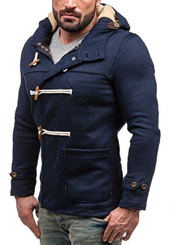 BOLF – Veste à capuche – Fermeture éclair – Boutons – GLO STORY 9032 - Homme Bleu foncé