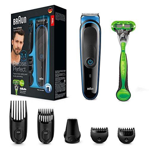 Braun MGK3042 - Set de afeitado multifunción 7 en 1, depiladora masculina, recortadora de barba, cortapelos profesional hombre, negro