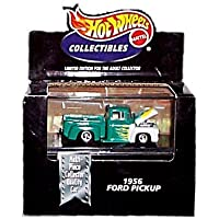 Hot Wheels Collectibles - Limited Edition Cool Collectibles - 1956 Ford PickUp (Turquoise & White w/Flame Graphics) - Mounted in Collector's Display Case by Hot Wheels - Multi Spoke Wheel