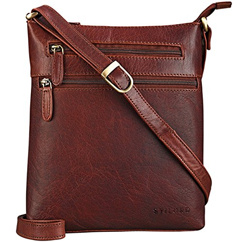 STILORD \'Juna\' Damen Umhängetasche Leder braun Handtasche kleine Schultertasche Vintage Damentasche Ausgehtasche für Freizeit Party 9,7 Zoll Tablet iPad Echtleder, Farbe:Siena - braun