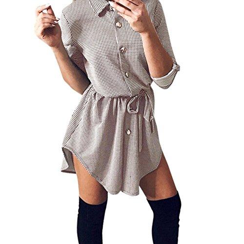 Longra Damen Kariertes Kleid Langarmshirt Hemdkleid Shirtkleid Blusenkleid Karo Kleid Mit Gürtel Damen Langarm Hemd V-Ausschnitt Langarmshirt Oversize Cardigan Top Shirtkleid Mini Kleid (Beige, S)