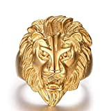 Bodya Herren Edelstahl Gold Lion King Head Ringe Heavy Rock Punk Gothic Biker Ring Größe 8