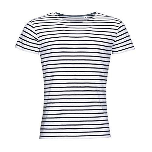 SOLS Miles - T-shirt rayé à manches courtes - Homme (S) (Blanc/Bleu marine)