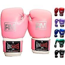 RingmasterUK Guantes de boxeo para niños de piel sintética, color rosa Rosa rosa Talla:170 g