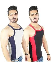 Zimfit Men's Gym Vest 112(Grey_Black)