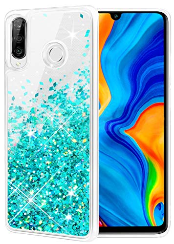 wlooo Huawei P30 Lite hülle Glitzer, handyhülle P30 Lite Glitzer, handyhülle Huawei P30 Lite, Flüssig Treibsand Glitter Gradient Quicksand Weich TPU Bumper Silikon Schutzhülle (Blaugrün)