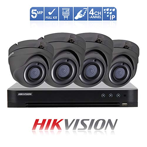 HIKVISION Überwachungssystem (5 MP, 4 K DVR 4 Kanal (1 TB) H.265 + HIK 5 MP 2,8 mm (4X) G/Kamera Outdoor Nachtsicht-Kit TVI/AHD/CVI/CVBS DS-7204HUHI-K1 DS-2CE56H0T-ITME/G OSD-Menü, 2D DNR, DWDR Toshiba Nvr