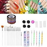 26pcs kit di strumenti per arte del chiodo, smalto per unghie decorazione strass pennello per nail art punteggiatura penna spugna chiodo timbro filo fai da te decorazioni manicure