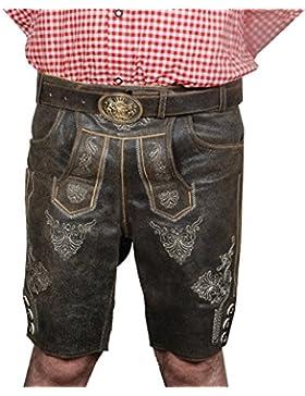 Herren Trachten Set Lederhose mit Gürtel Größe 48-60,Hemd und Socken Neu
