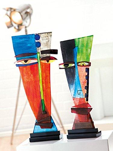 GILDE Glas Artdeko Vase Colorconfuso rot/gelb / blau schwarzer Metall Halter L = 47 x B = 11 x H = 49 cm (Vase Und Rot Gelb)