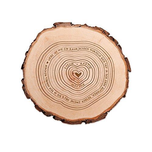 Casa Vivente Baumscheibe mit Gravur - Personalisiert mit Namen und Datum - Zur Hochzeit - Türschild aus Holz - Wohn-Deko - Geschenkidee zum Jahrestag - Hochzeitsgeschenke für Brautpaar (Holz Baum-scheiben)