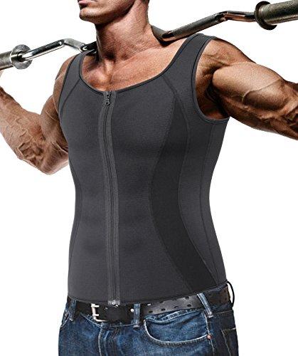 Gotoly Herren Neopren Hot Body Shaper Sauna Sweat Abnehmen Weste Gewicht Verlust (Schwarz, 2XL Für 100-110 CM Taille)