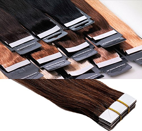 Tape In / On Echthaar Extensions Haarqualität: Virgin Remy - höchste Qualitätsstufe 40 cm 10 Tressen Marke Frohlocke SALON PRO (04 - mittelbraun)