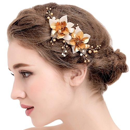 Vintage Hairgrip Gold Braut Tüll Blume Pailletten Perlen Hochzeit Haarschmuck -