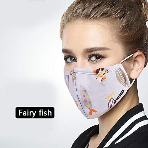 SJWWJK Mund Maske Wintermaske Auf Gesicht Fn95 Anti Staub Mundmaske Mit Kohlefilter Anti Pm2.5 Grippe Stoff Gesichtsmaske Flu Fee Fisch