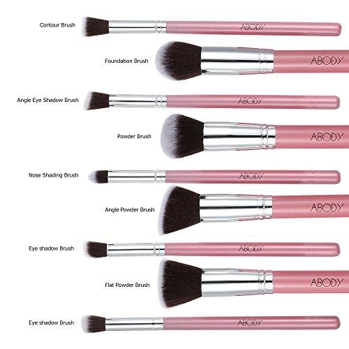 Abody 9Pcs/Set de Brochas cosméticas de manija madera color rosa