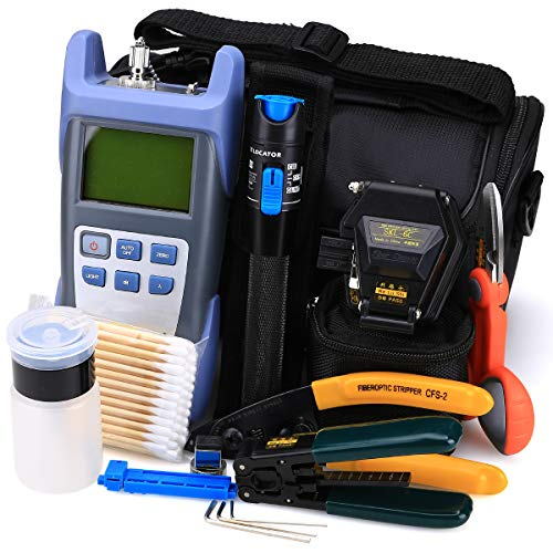 FTTH Glasfaser Tool Kit 18in 1mit neuen Faser Optische Power Meter und 1mW Visual Fault Locator und Kabel Cutter Stripper Werkzeug skl-6C Faser Cleave Multifunktions-Ausrüstung Werkzeug