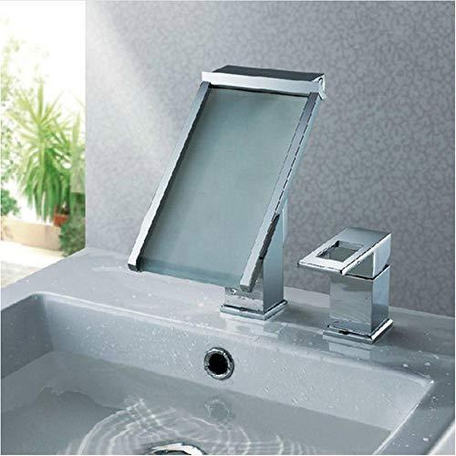 Zwei Wand-waschmaschinen-licht (2 Stücke Wasserhahn Set Wasserfall Bad Becken Wasserhahn Wasserkraft Waschtischmischer Chrom Wasserhahn 3 Farben Ändern LED Tap)