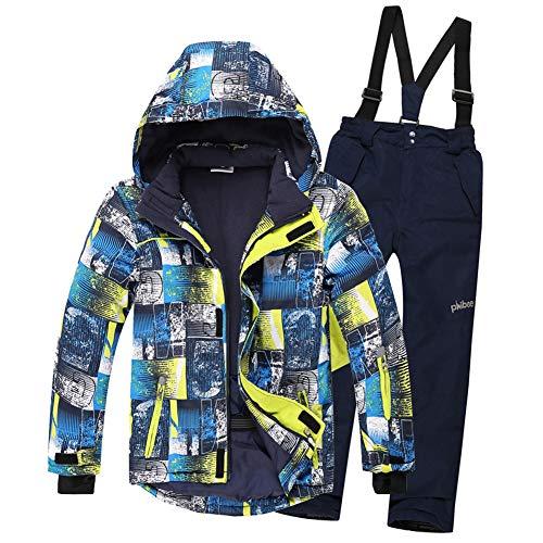 LSHEL Vêtements de Ski pour Enfants pour garçons Filles Coupe-Vent Imperméable Épaissir Chaud...