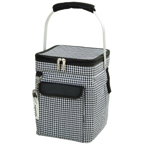 Für 4 Picknick-zeit-korb (Picnic at Ascot 4 Bottle Insulated Wine Tote- Collapsible Multi Purpose Cooler - Houndstooth)