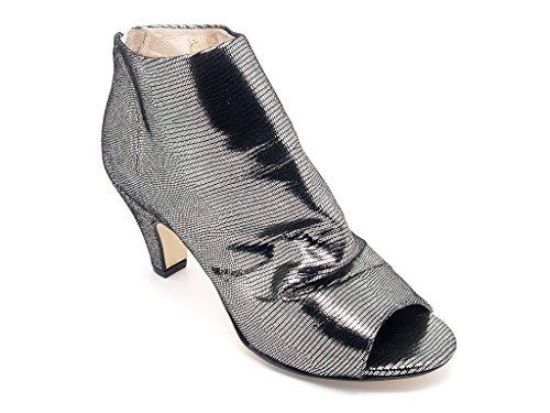Carmens Padova tronchetti donna con punta aperta, gambale in pelle acciaio sfoderata, chiusura zip, suola di gomma (EU 41)