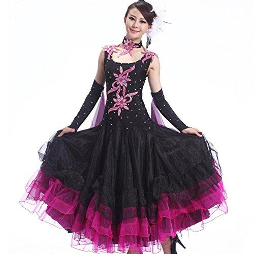 GBDSD Il nuovo vestito messo su un grande ballo liscio gonne concorrenza ballo liscio gonna costumi in ballo pratica , xxl , black with red