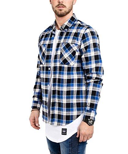 Phoenix Button Down Herren Flanell Hemd Blau Rot Schwarz Weiß Freizeithemd Karohemd Jeanshemd Blau-Weiß