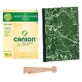 """Lot 1 Pochette Canson A3 Papier à Dessin Blanc""""C"""" à Grain + 1 Carton à Dessin avec élastiques A3 32x45 + 1 Règle en Bois Chat Blumie"""