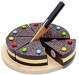Tanner 0980.4 - Schokoladentorte aus Holz zum Schneiden mit Holzmesser (sortiert)