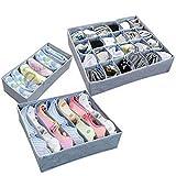 Nunubee 3 Pcs Organisateurs de Tiroirs Pliables Boîtes de Rangement pour Soutien-gorge, Chaussettes, Sous-Vêtements, Cravates, Gris