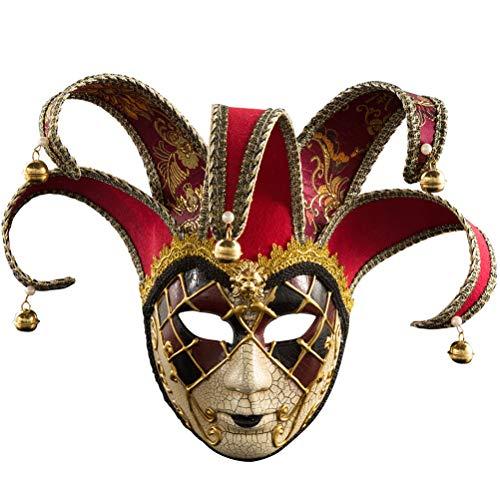 Zhuhaijq Frauen Vollmaske - Luxury Checkered Halloween Maskerade Masken mit Glocken für Cosplay Kostüm Masquerade Zubehör