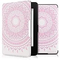 kwmobile Elegante borsa di ecopelle per il Amazon Kindle Paperwhite (2012/2013/2014/2015) in Design sole indiano rosa bianco con chiusura magnetica