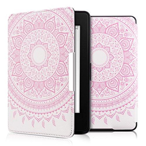 kwmobile Funda para Amazon Kindle Paperwhite - eReader Case de cuero sintético - Con tapa E-book reader Flip style Diseño Sol hindú rosa claro blanco