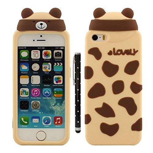 iPhone 5 5S Coque de Protection, Animal Forme Conception Serie Diverses couleurs Cartoon Style Doux Silicone Housse de Protection Case pour Apple iPhone 5 SE 5S 5G avec 1 stylet - Ours jaune