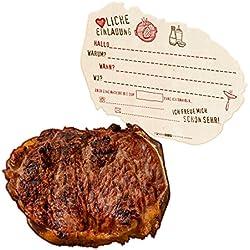 itenga 12x verrückte Einladungskarten zur Grillparty BBQ in Form eines Grillsteaks für echte Fleischfans
