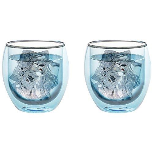 Levivo doppelwandiges Jumbo Thermoglas 400 ml, ideal als Kaffeeglas oder Teeglas, mundgeblasene Thermo-Gläser, hitzebeständig, handgefertigt, kratzfest und spülmaschinengeeignet, 2er-Set, blau