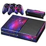 Xbox One Protective Vinly Skin Sticker Consola Decal Pegatinas + 2 Controlador & Kinect Skins Set (Starry Purple)