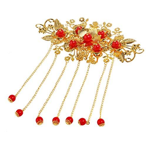 Pixnor Haarschmuck Clip Exotic Allure Chinesische Haarkamm Cheongsam Haar Accessory (rot)
