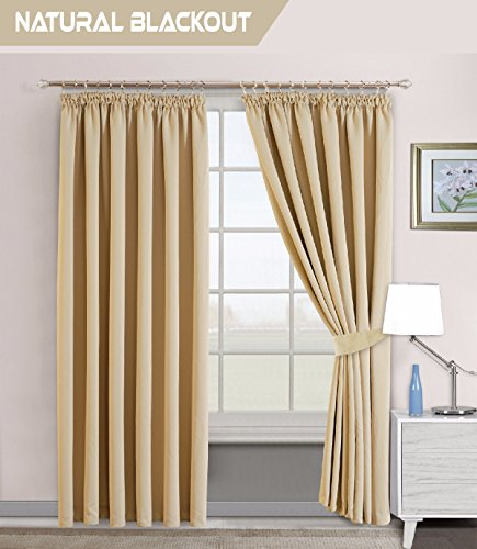 Interwoven Supersoft Insulated Thermal Blackout Pencil Pleat Pair Curtains For Living Room Bedroom 66 Width X 54 Drop 167 137 CM CREAM